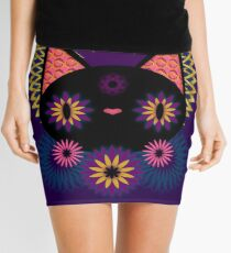 Dark Floral Feline Charm Mini Skirt