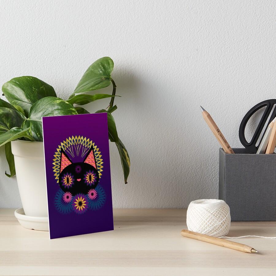 Dark Floral Feline Charm Art Board Print