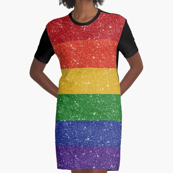 Faux Glitter Rainbow Pride Flag Graphic T-Shirt Dress
