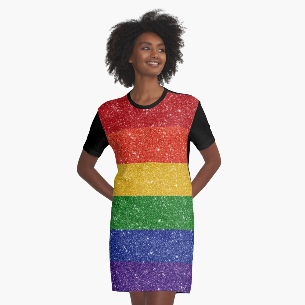 Glitter Rainbow Pride Flag Graphic T-Shirt Dress