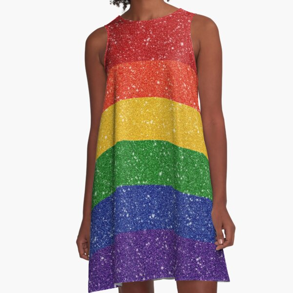 Faux Glitter Rainbow Pride Flag A-Line Dress
