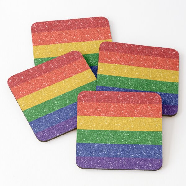 Faux Glitter Rainbow Pride Flag Coasters (Set of 4)