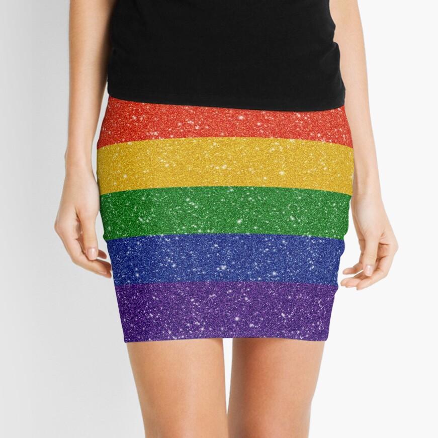 Faux Glitter Rainbow Pride Flag Mini Skirt