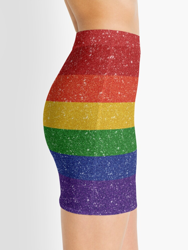 Alternate view of Faux Glitter Rainbow Pride Flag Mini Skirt