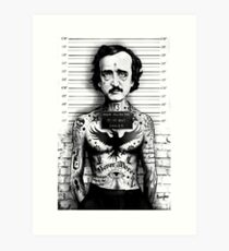 Edgar Allan Poe Mugshot Artwork by Marcus Jones /  screaming demons Art Print