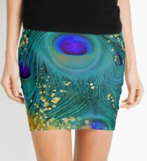 Dreamy peacock feathers, teal and purple, glimmering gold Mini Skirt