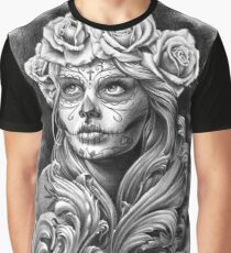 Black and Grey Catrina with a crown of roses. Graphic T-Shirt