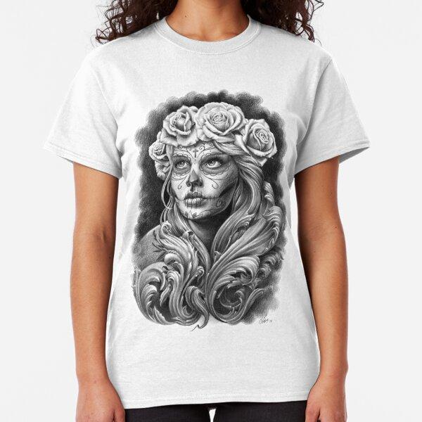 Catrina negra y gris con una corona de rosas. Camiseta clásica