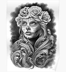 Schwarze und graue Catrina mit einer Krone aus Rosen. Poster