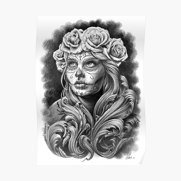 Black and Grey Catrina with a crown of roses. Poster