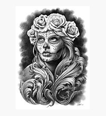 Black and Grey Catrina with a crown of roses. Photographic Print