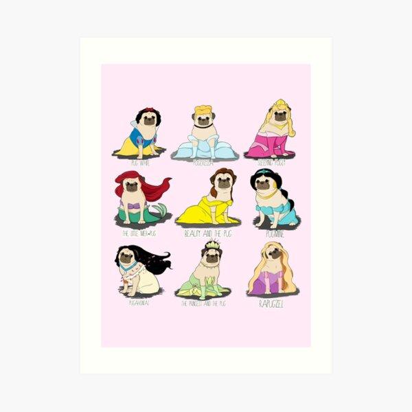 Pug Princesses Art Print