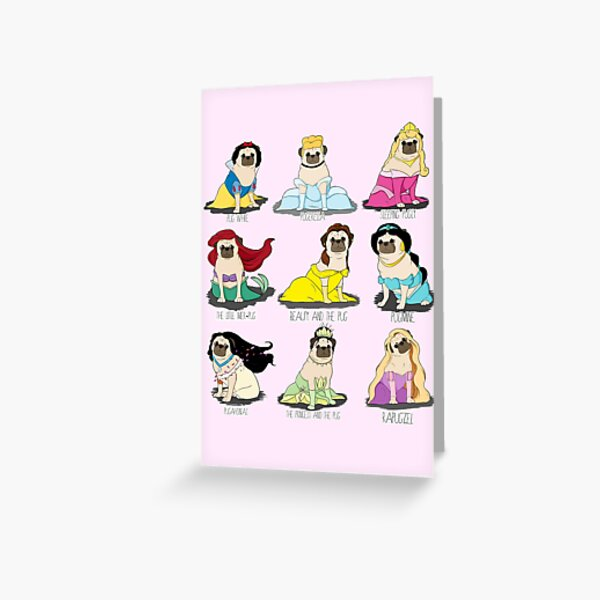 Pug Princesses Greeting Card