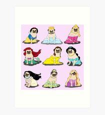 Pug Princesses Version 2 Art Print