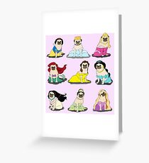 Pug Princesses Version 2 Greeting Card