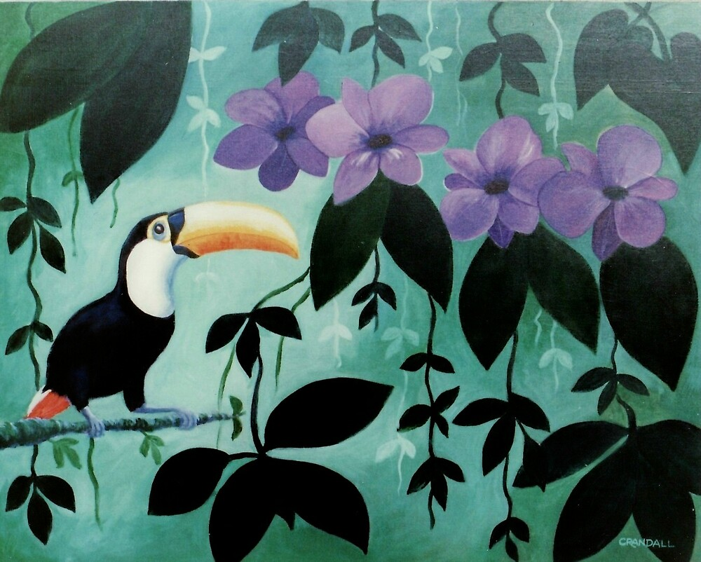Toucan with orchids by Gary  Crandall
