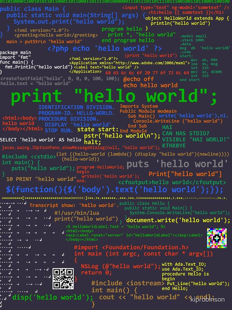 Hello World - Many Programming Languages (dark) by kiprobinson
