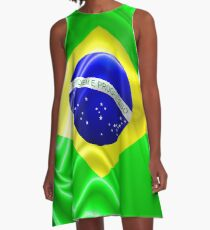 Brazil Flag Waving Silk Fabric A-Line Dress
