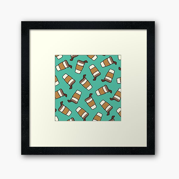Take it Away Coffee Pattern Framed Art Print