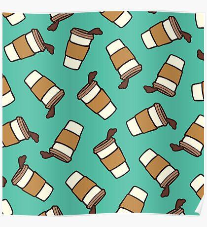 Take it Away Coffee Pattern Poster