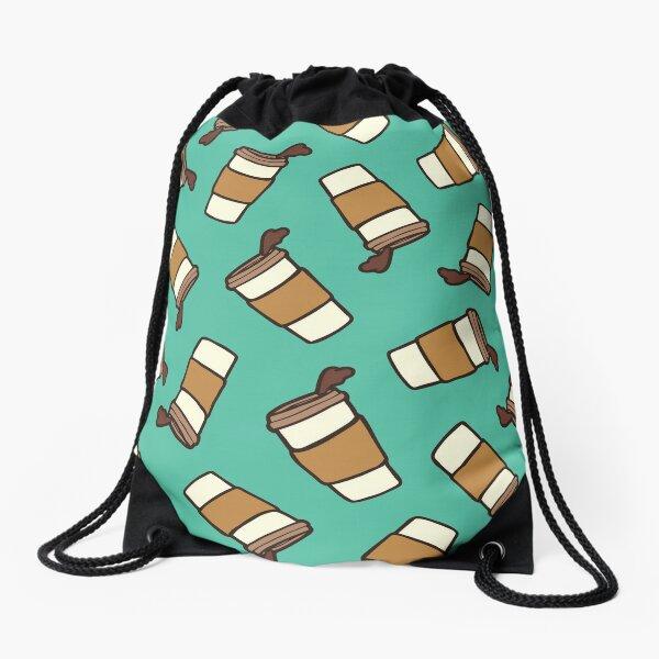 Take it Away Coffee Pattern Drawstring Bag