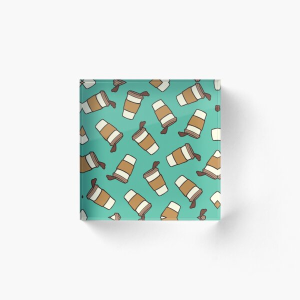 Take it Away Coffee Pattern Acrylic Block