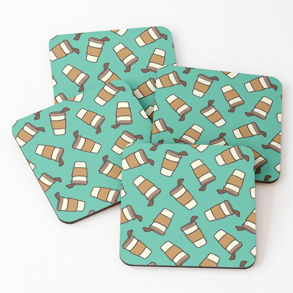 Take it Away Coffee Pattern Coasters (Set of 4)