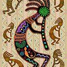 Kokopelli Rainbow Colors on Tribal Pattern  by BluedarkArt
