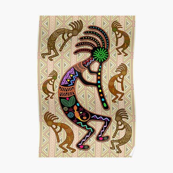 Kokopelli Rainbow Colors on Tribal Pattern  Poster