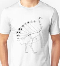 Ostrich Spine Anatomical Bird Science Illustration T-Shirt