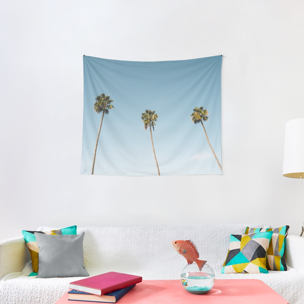 Three Palm Trees Blue Sky California Tapestry