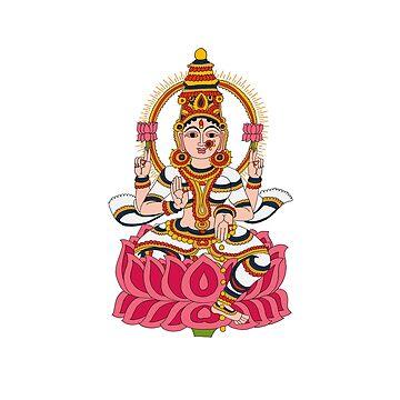 goddess Lakshmi kalamkari white by sriknick