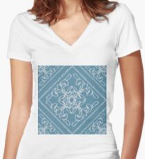 Seamless colourful ornament tiles Women's Fitted V-Neck T-Shirt