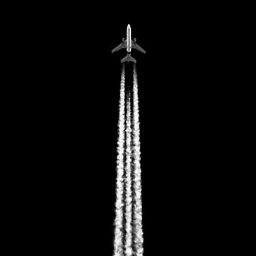 PLANE WITH CONTRAILS by jgevans