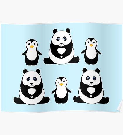 PANDAS & PENGUINS Poster