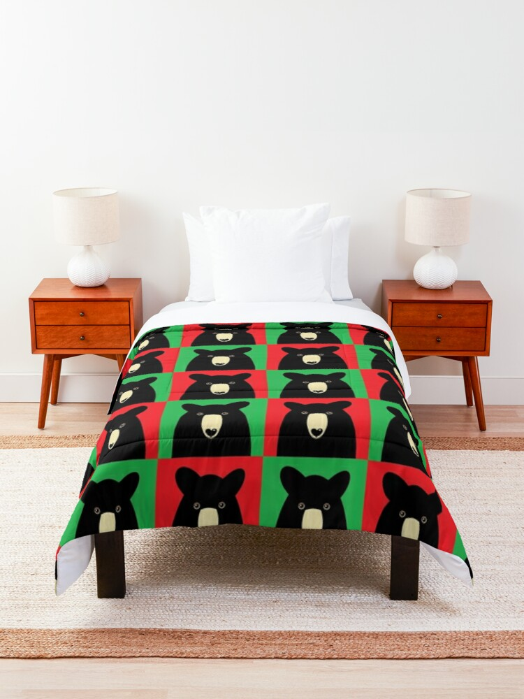 Alternate view of BLACK BEAR ON RED & GREEN Comforter