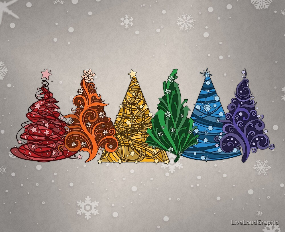 Rainbow Christmas Trees by LiveLoudGraphic