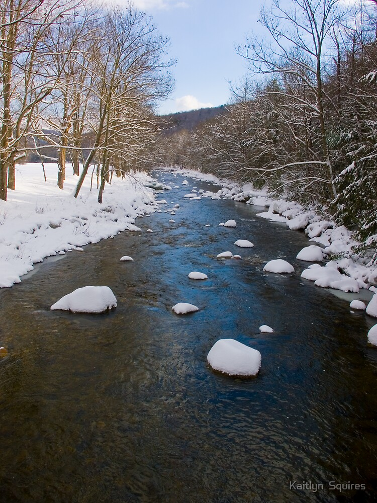 Snow Covered Rocky River by Kaitlyn  Squires