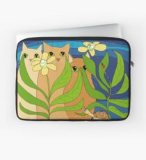 Three Cats, Two Flowers, One Snail and A Ladybug Laptop Sleeve