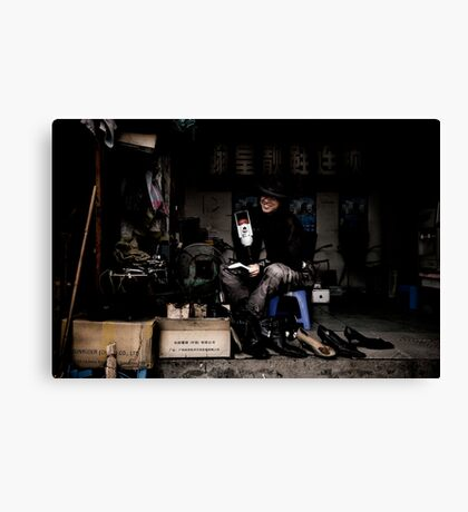Tim Burton's shoe shop Canvas Print
