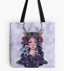 Dark Faun Girl with Flowers Tote Bag