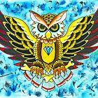 Owl In Blue - Art By Kev G by ArtByKevG