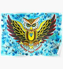 Owl In Blue Poster