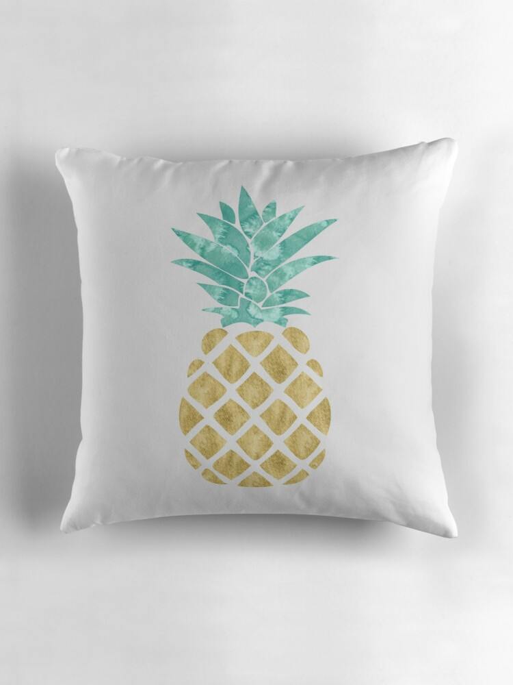 Quot Golden Pineapple Quot Throw Pillows By Heartlocked Redbubble