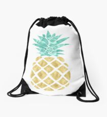Golden Pineapple Drawstring Bag