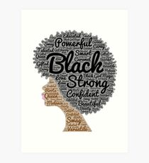 Black Woman Natural Hair Words In Afro Art Print