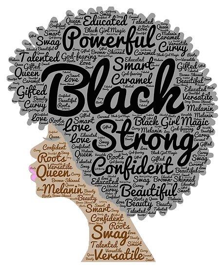 Natürliche Haar-Wörter der schwarzen Frau in Afro von blackartmatters