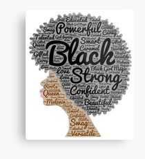 Black Woman Natural Hair Words In Afro Metal Print