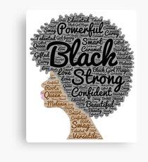 Natürliche Haar-Wörter der schwarzen Frau in Afro Leinwanddruck