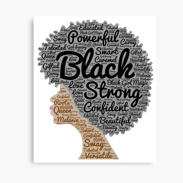 Black Woman Natural Hair Words In Afro Canvas Print